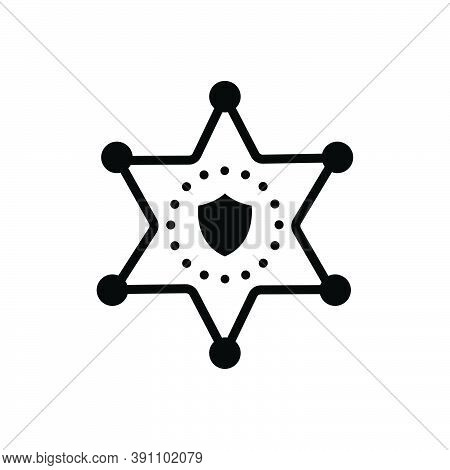 Black Solid Icon For Deputy Sheriff Badge Star Authority Hexagram Decoration