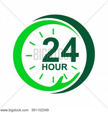 24 Hour Medical Care Service Vector Icon. Day/night Services Button Symbol. Illustration Of 24/7 Sig