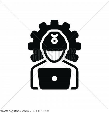 Black Solid Icon For Engineering Construction Manufacturing Authorizing Helmet Occupation Repair Con
