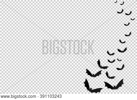 Halloween Party  Banner , Group Of Bats In Paper Cute Style Isolated On Png Or Transparent    Backgr