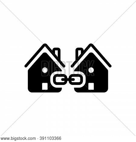 Black Solid Icon For Link Attachment Neighbor Vicinal Neighbouring Relationship Interconnection