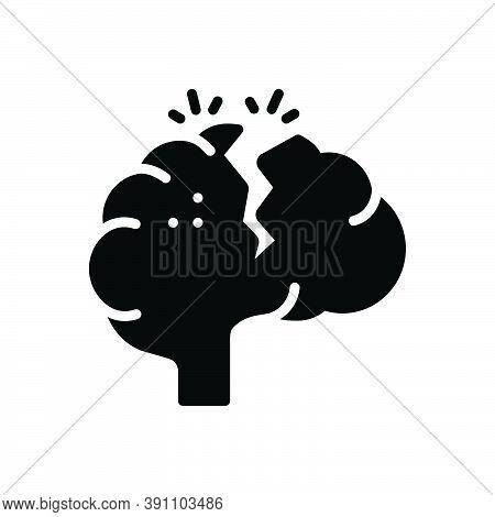 Black Solid Icon For Serious Solemn  Grave Critically Headache Stress Nervous Disease Mind Brain Tum