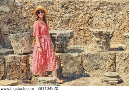 Woman Tourist Near The Base Of An Old Ruined Chapel At The Grave Of Saint Louis In Tunis, Carthage.,