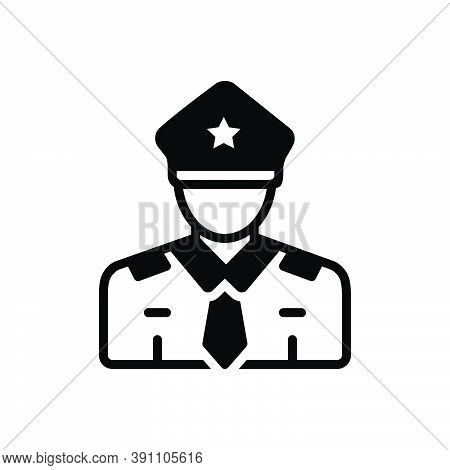 Black Solid Icon For Guard Secure Enforcer Policeman Cop Protect Security Safety