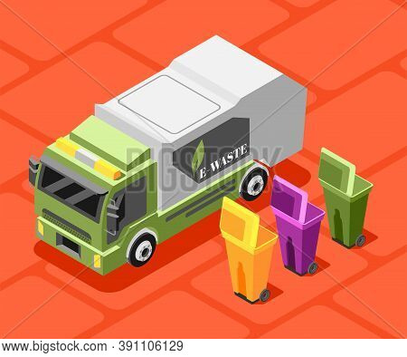 Electronic Garbage Isometric Background Composition With Images Of E-waste Labeled Truck And Colourf