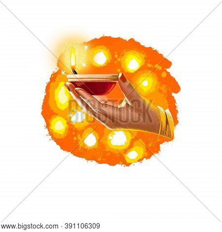 Happy Diwali Digital Art Illustration Isolated On White Background. Indian Festival Of Lights. Deepa