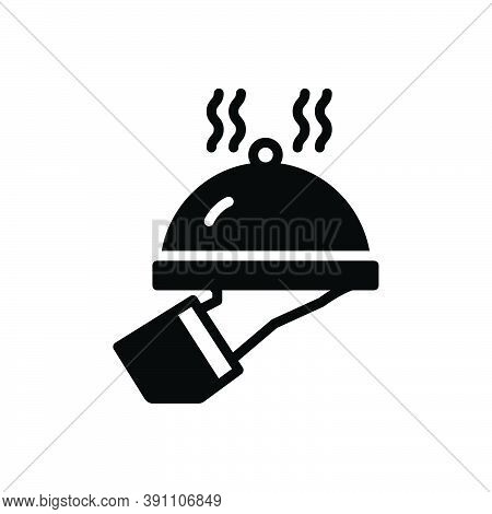 Black Solid Icon For Serve Attend Dish Waiter Catering Cooking Restaurant Service