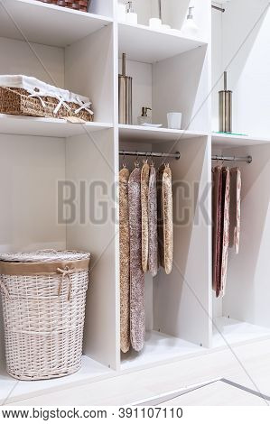 Organization Of Home Space And Comfort Of The Interior And Storage Of Things On The Shelves In The C