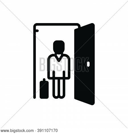 Black Solid Icon For Guest Visitor Outsider House-guest Person Luggage Holiday Identity