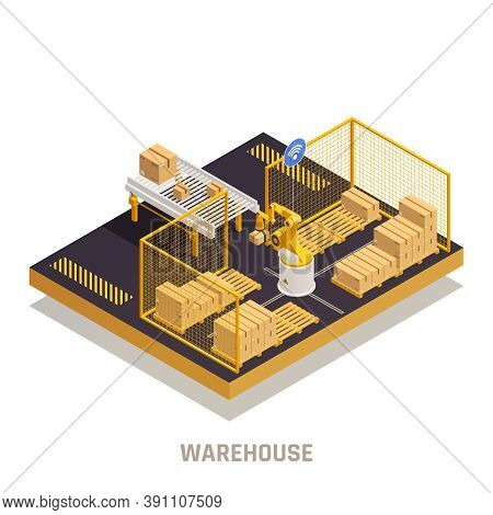 Modern Warehouse Cargo Receiving Process With Automated Robotic Arm Gripping And Placing Cargo Isome