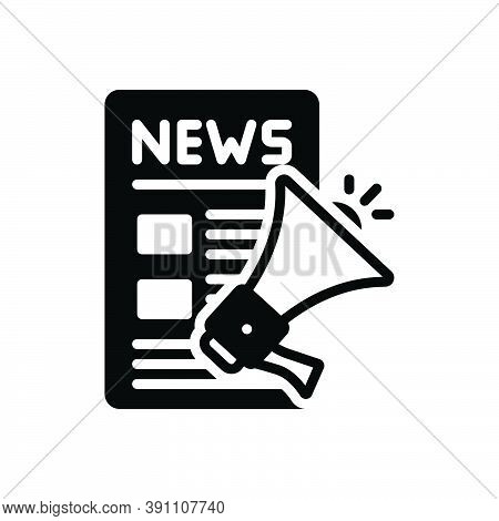 Black Solid Icon For Release Megaphone News Advertising Article Press-release Publication Speaker Ar