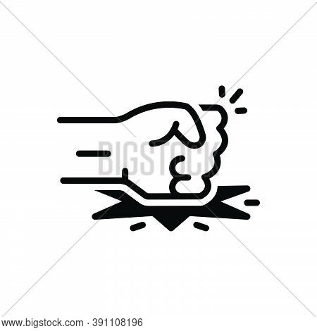 Black Solid Icon For Enough Sufficient Adequate Aggression Aggressive Anger Arm Hit Gesture