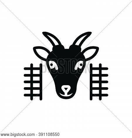 Black Solid Icon For Goat-in-pen Goat Pen Animal Cattle Domestic Farm Hoof Lamb Mammal