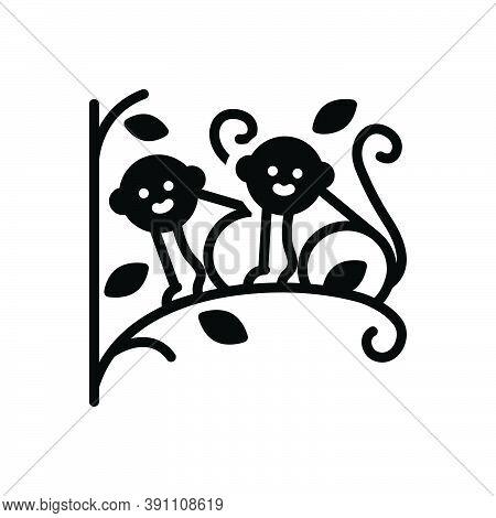 Black Solid Icon For Monkey-set-on-tree Monkey Set Tree Animal Pet Wild Ape Climb Branch Jungle