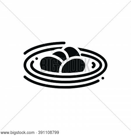 Black Solid Icon For Bird-egg-in-nest Egg Lay Nestling Nature Branch Leaf Basket Feather
