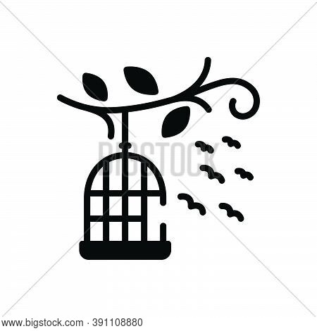 Black Solid Icon For Birds-outside-of-cage Cage Birds Freedom Flying Liberty Relinquish Birdcage Han