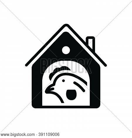 Black Solid Icon For Chicken-in-coop Chicken Coop  Agriculture Animal Cage Bird Domestic Farm Farmin