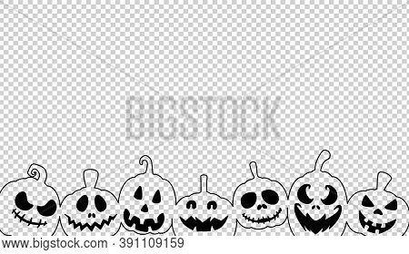 Halloween Party Banner  With Scary Pumpkin Face Isolated On On  Png Or Transparent Background, Graph