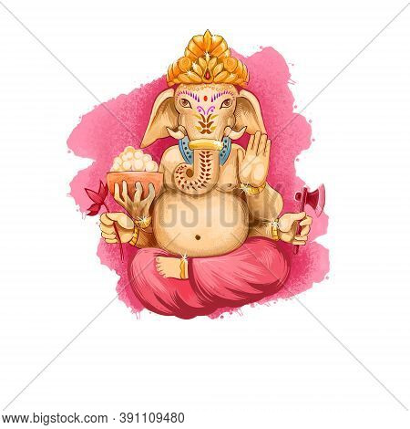 Digital Art Illustration Of Lord Ganesh Chaturthi Isolated On White. Vinayaka Chaturthi Hindu Festiv