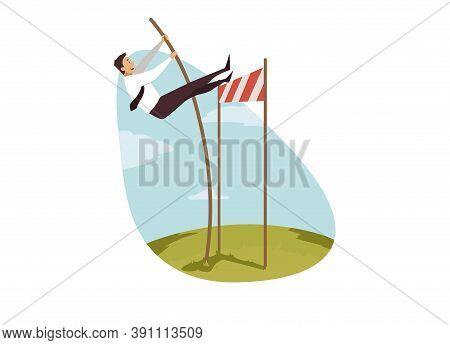 Leadership, Winning, Overcoming, Business Concept. Businessman Clerk Manager Motivated Leader Jumpin