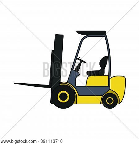 Warehouse Forklift Icon. Editable Outline With Color Fill Design. Vector Illustration.