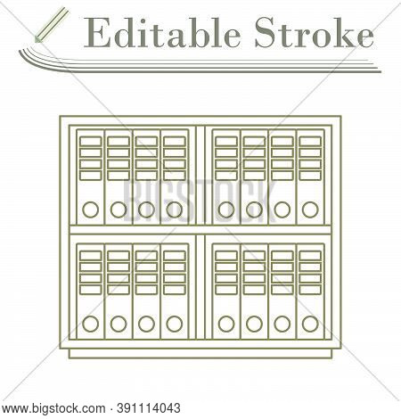 Office Cabinet With Folders Icon. Editable Stroke Simple Design. Vector Illustration.