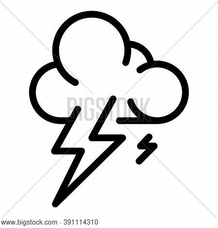 Thunderbolt Storm Cloud Icon. Outline Thunderbolt Storm Cloud Vector Icon For Web Design Isolated On