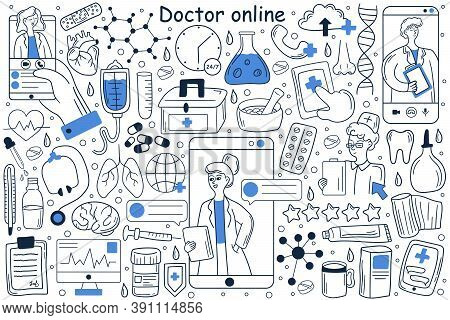 Doctor Online Doodle Set. Collection Of Hand Drawn Templates Patterns Of Man Patient Using Mobile Ph
