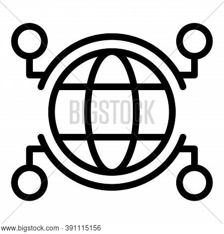 Cyber Global Network Icon. Outline Cyber Global Network Vector Icon For Web Design Isolated On White
