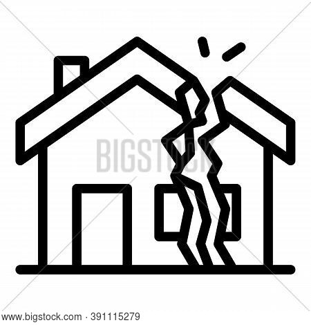 Earthquake Destroyed House Icon. Outline Earthquake Destroyed House Vector Icon For Web Design Isola