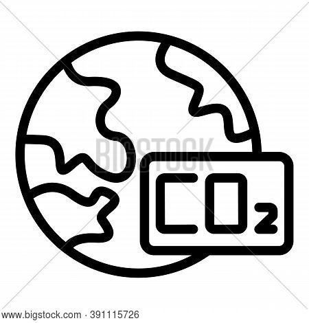 Co2 Global Warming Icon. Outline Co2 Global Warming Vector Icon For Web Design Isolated On White Bac