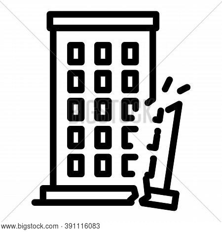 Destroyed Building Icon. Outline Destroyed Building Vector Icon For Web Design Isolated On White Bac