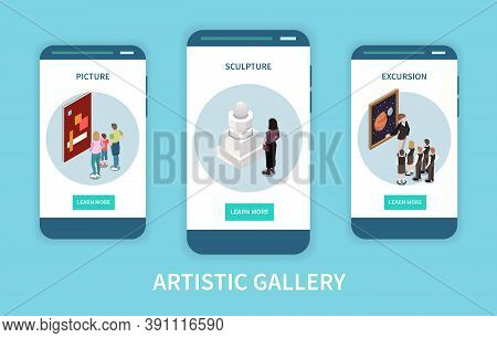 Artistic Gallery Mobile App Concept With Information About Pictures Sculptures And Excursion   On Sm