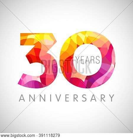 30 Th Anniversary Numbers. 30 Years Old Coloured Congrats. Cute Congratulation Concept. Isolated Abs