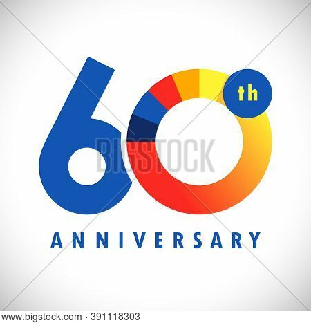 60 Th Anniversary Numbers. 60 Years Old Coloured Congrats. Cute Congratulation Concept. Isolated Abs