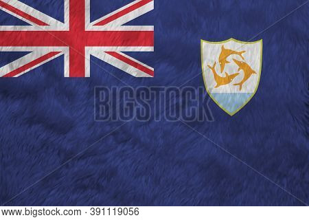 Towel Fabric Pattern Flag Of Anguilla, Crease Of Anguilla Flag Background, Blue Ensign With The Brit