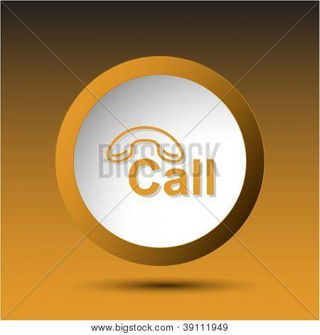 Hotline. Plastic button. Vector illustration.