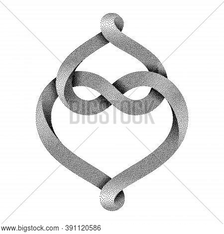 Two Hearts Intertwine Forming An Infinity Sign Made Of Stippled Mobius Stripe. Symbol Of Eternal Lov