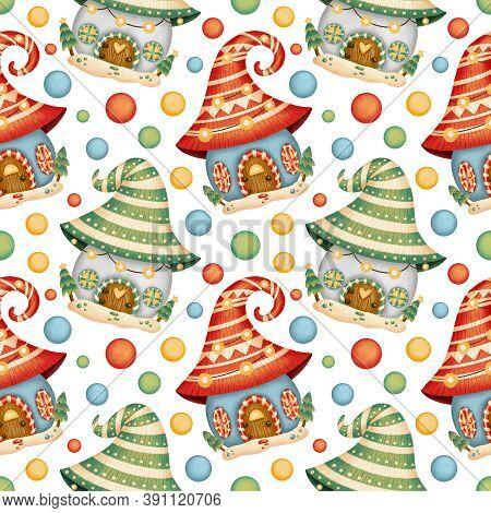 Cute Cartoon Christmas Houses Seamless Pattern. Scandinavian Gnome Houses Seamless Pattern. Gingerbr