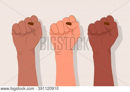 Multinational Female Hands. Diverse Nationalities. Female Power Concept. Delicate Feminine Fists. St