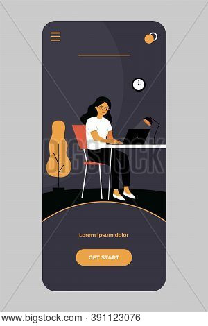 Woman Working At Night. Female Freelance Designer At Workplace With Laptop At Home. Vector Illustrat