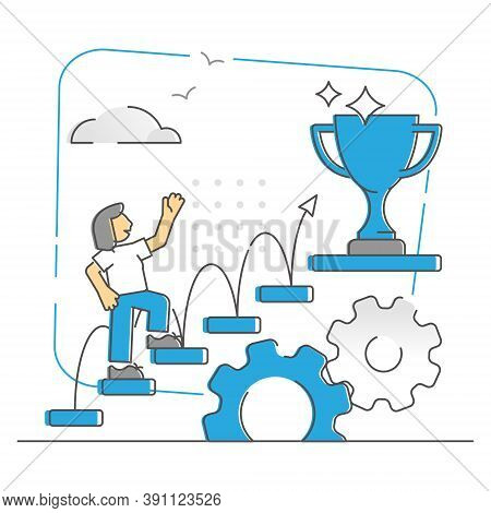 Success Ladder Climbing Step By Step To Target Goal Monocolor Outline Concept. Gradually Reaching Ac