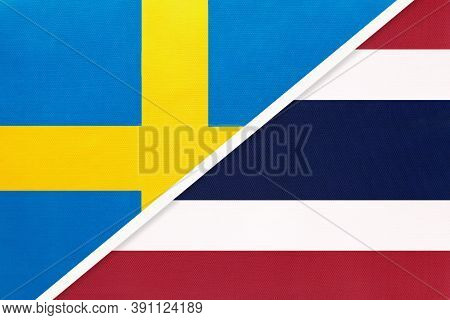 Kingdom Of Sweden And Thailand Or Siam, Symbol Of National Flags From Textile. Relationship, Partner