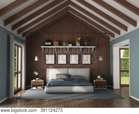 Elegant Bedroom With Wooden Wall Behind A Modern Double Bed And Nightstand - 3d Rendering