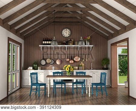Retro Style Kitchen With Dining Table And Chairs In A Room With Wooden Roof Trusses - 3d Rendering
