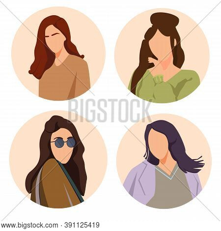 Set Vector Thin Icons Of Girl For Mob Le Concepts And Web Apps. Trendy Vector Illustrations For High