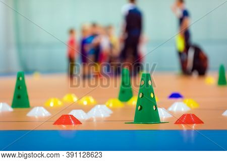 Indoor Sports Training Pitch. Sports Training Equipment. Practice Futsal Field. Colourful Training M