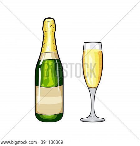 Champagne Bottle And Glass Of Champagne. Design Element Champagne. Cartoon Style. Hand Drawing Champ