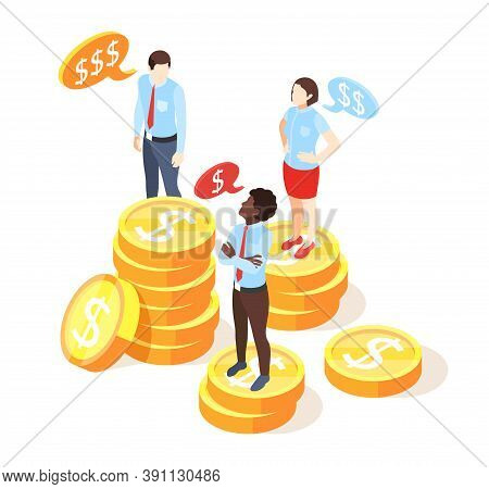 Discrimination Isometric Composition With Human Characters Standing On Stacks Of Dollar Coins Repres