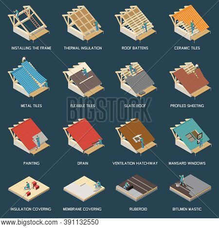 Roofing Construction Process Materials Isometric Set With Frame Installation Thermal Insulation Cera
